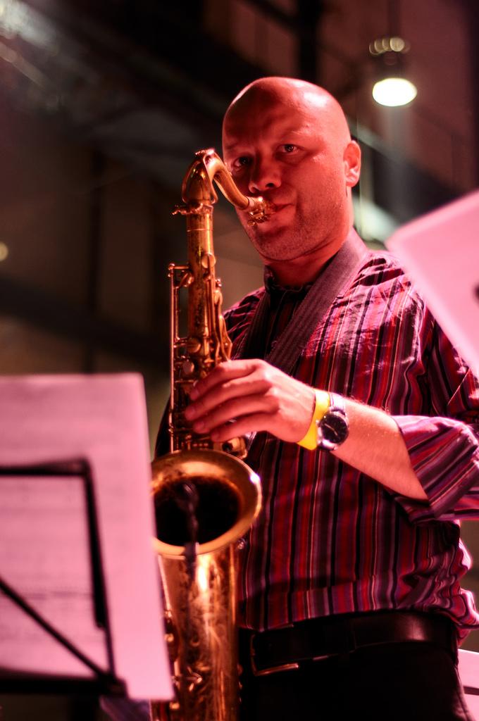 A musician in Warsaw, Poland
