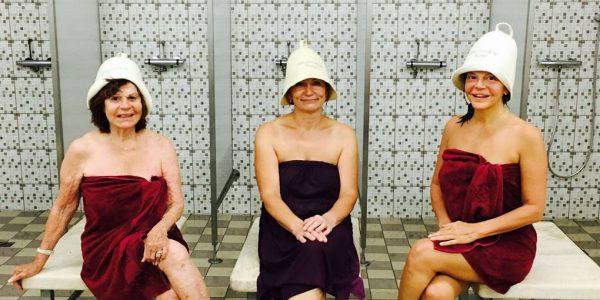 three ladies in bath