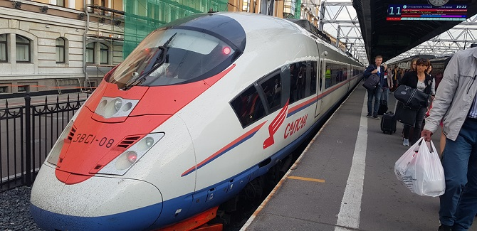 High-speed train from Moscow to St. Petersburg