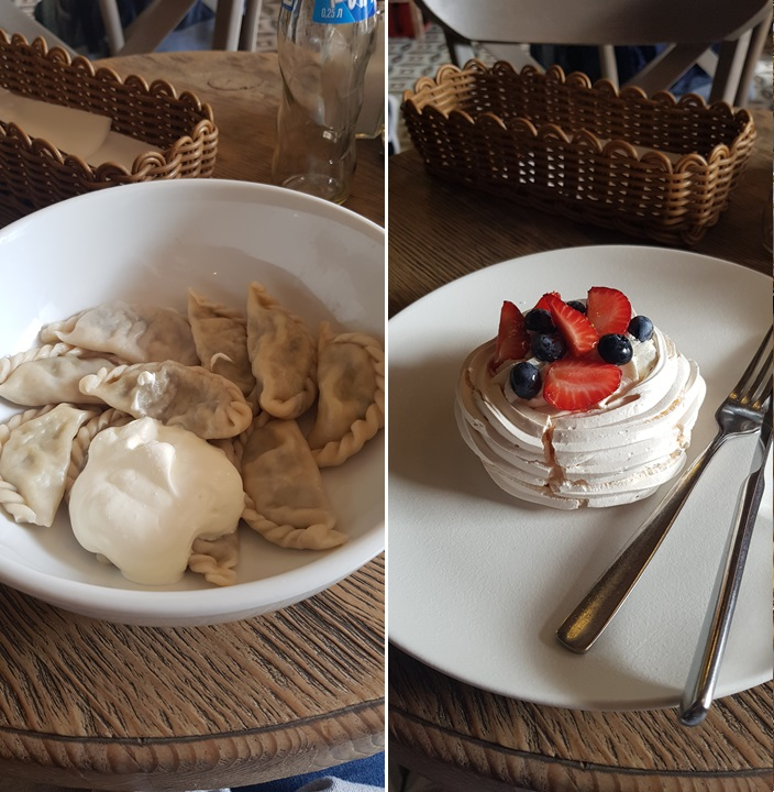 Traditional dumplings and pavlova